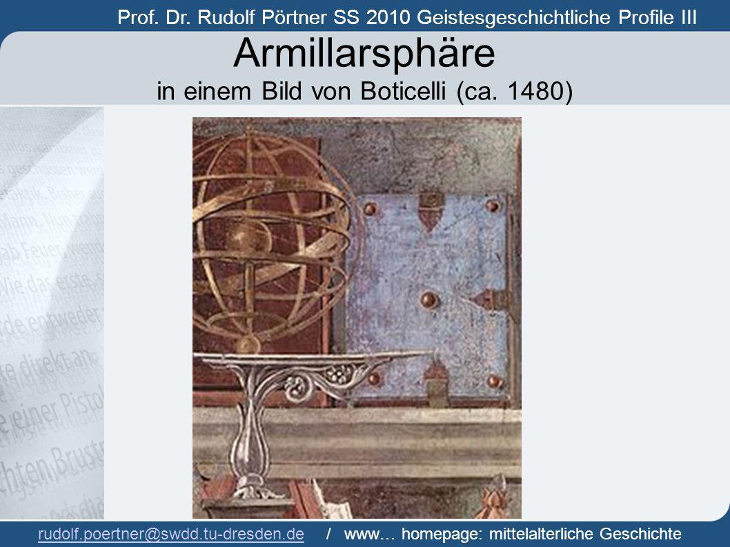 Armillarsphäre in einem Bild von Boticelli (ca. 1480)