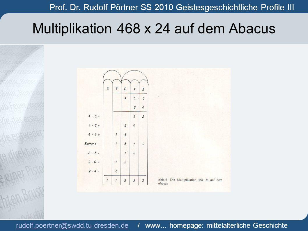 Multiplikation 468 x 24 auf dem Abacus