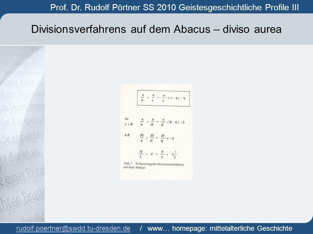 Divisionsverfahrens auf dem Abacus – diviso aurea