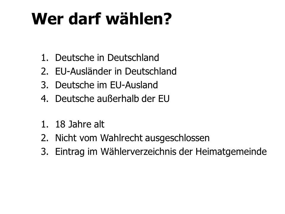 Wer darf wählen Deutsche in Deutschland EU-Ausländer in Deutschland