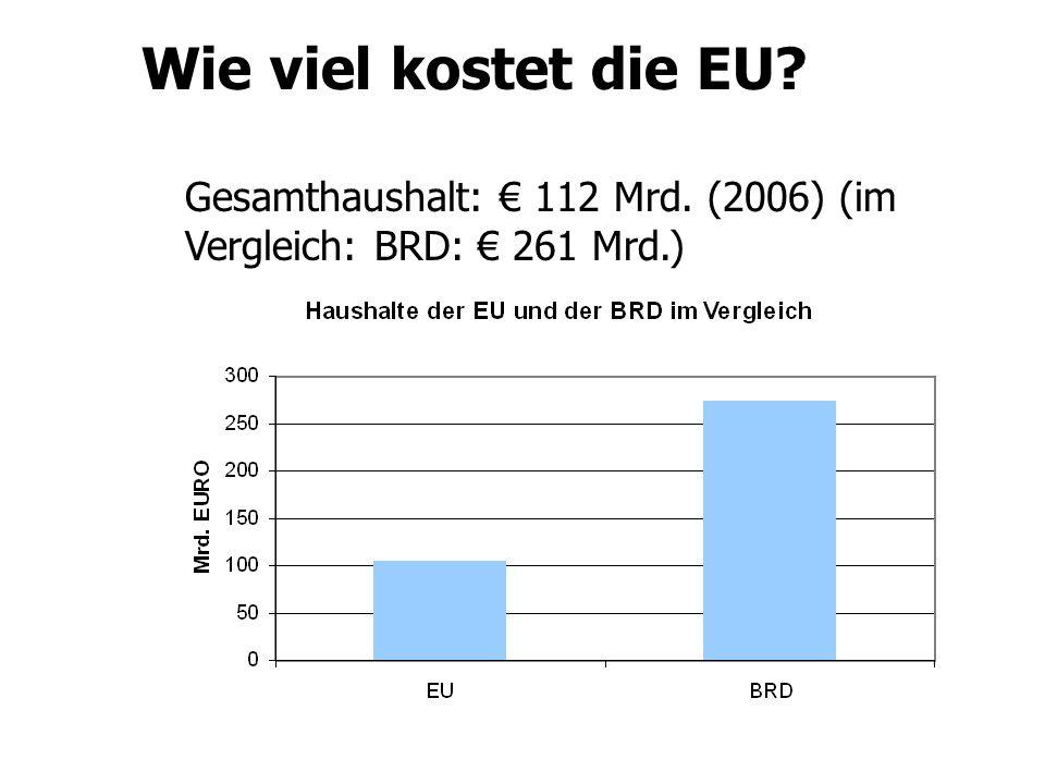 Wie viel kostet die EU Gesamthaushalt: € 112 Mrd. (2006) (im Vergleich: BRD: € 261 Mrd.)