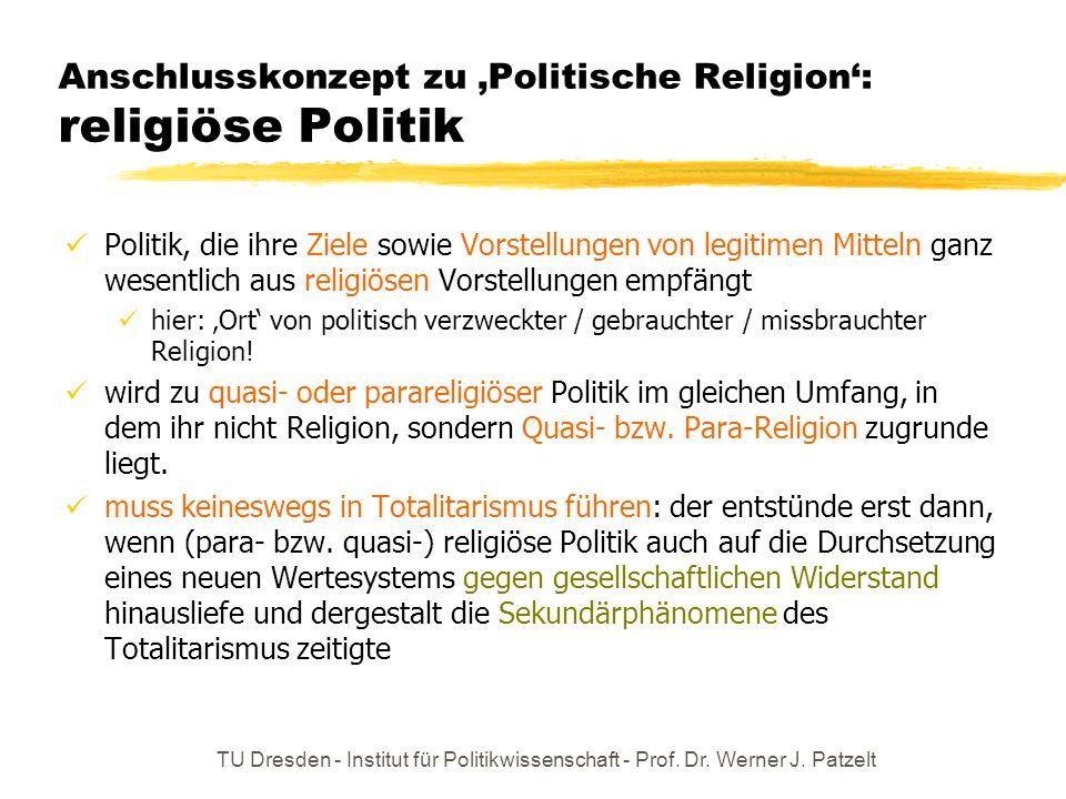 Anschlusskonzept zu 'Politische Religion': religiöse Politik