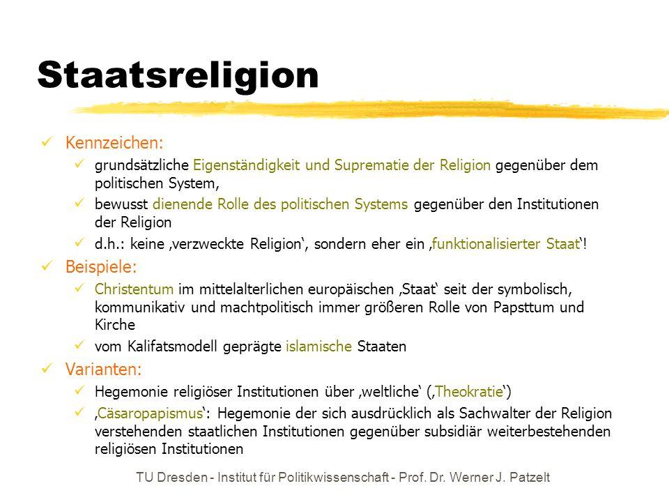 Staatsreligion Kennzeichen: Beispiele: Varianten: