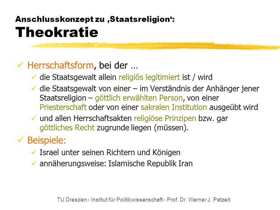 Anschlusskonzept zu 'Staatsreligion': Theokratie