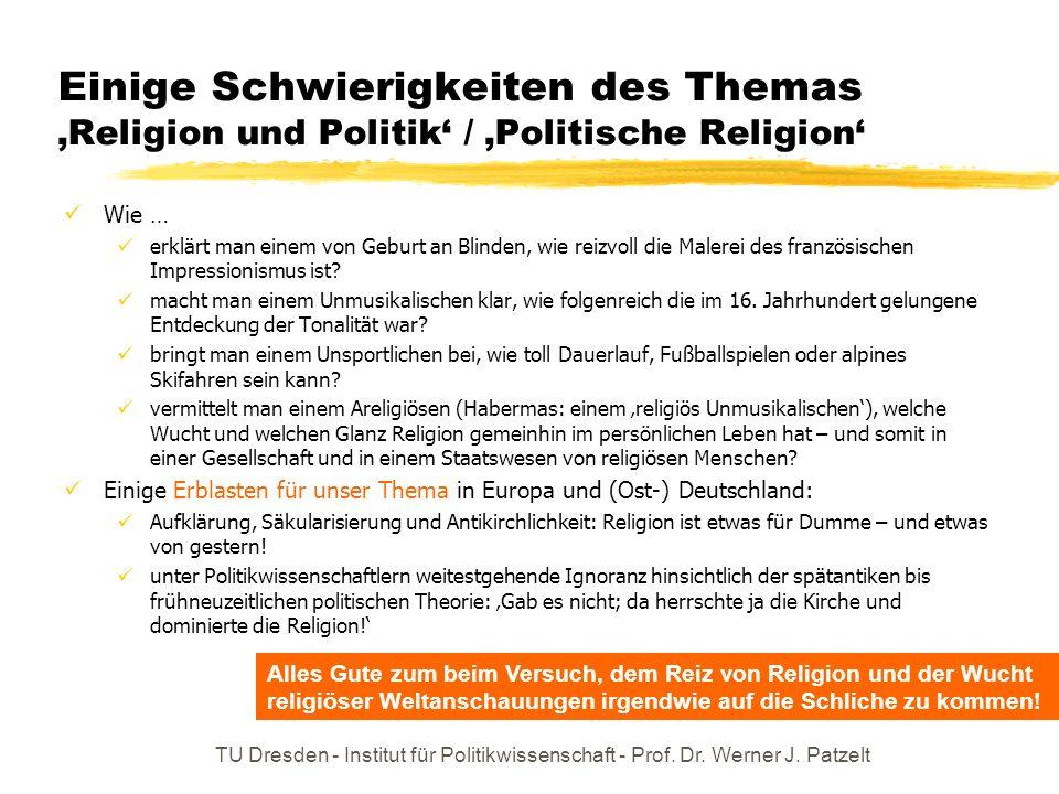 Einige Schwierigkeiten des Themas 'Religion und Politik' / 'Politische Religion'