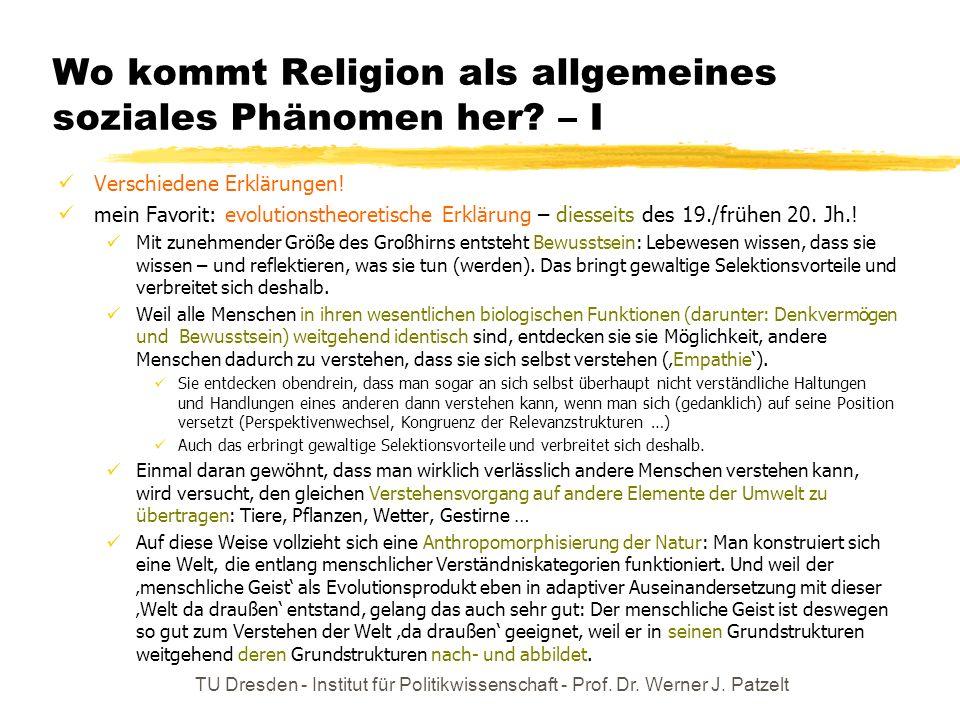 Wo kommt Religion als allgemeines soziales Phänomen her – I