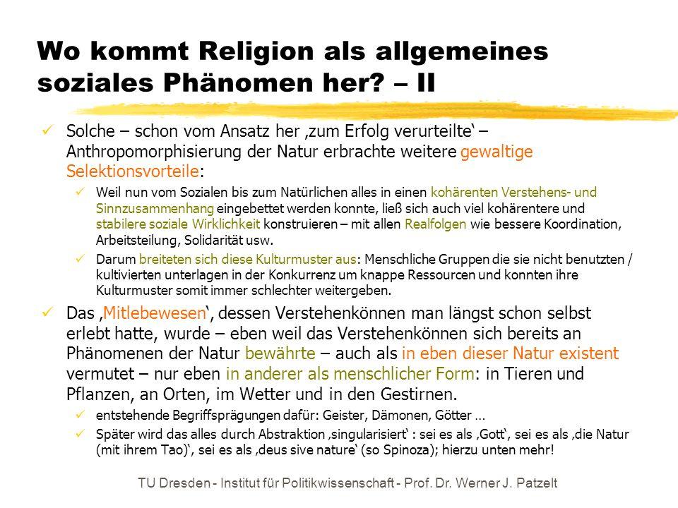 Wo kommt Religion als allgemeines soziales Phänomen her – II