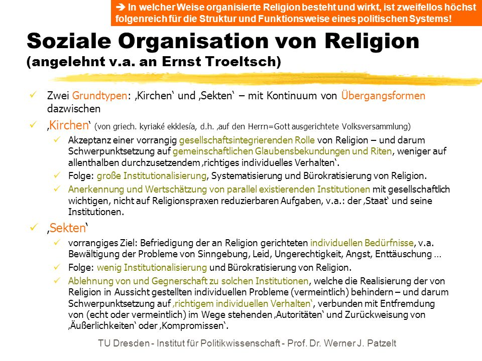 Soziale Organisation von Religion (angelehnt v.a. an Ernst Troeltsch)