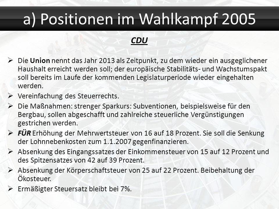 a) Positionen im Wahlkampf 2005