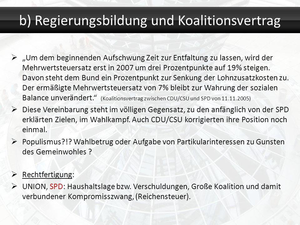 b) Regierungsbildung und Koalitionsvertrag