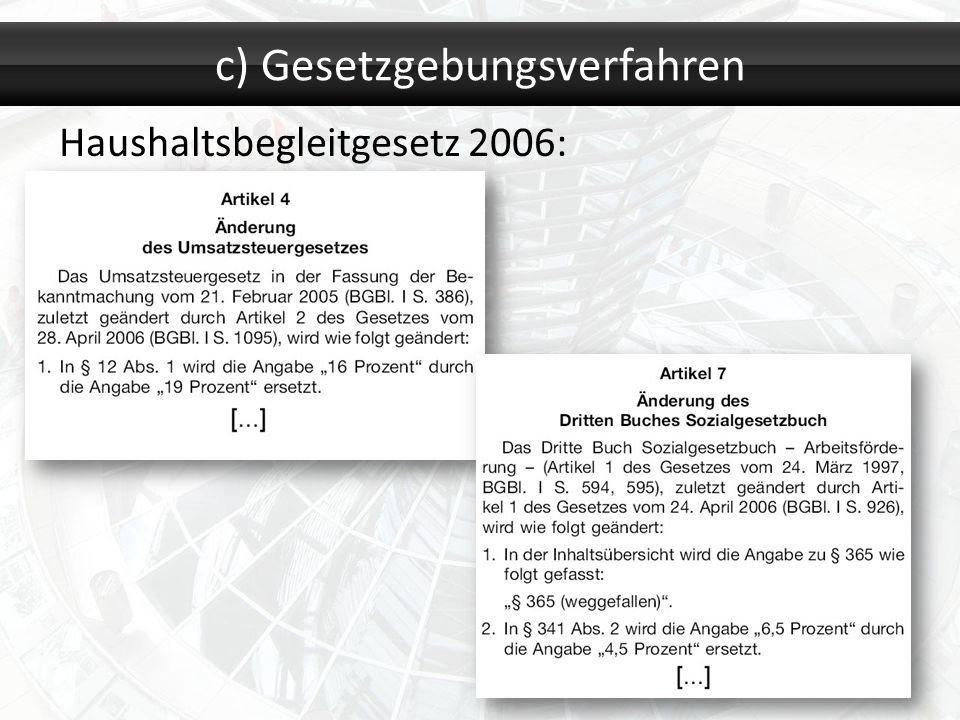 c) Gesetzgebungsverfahren