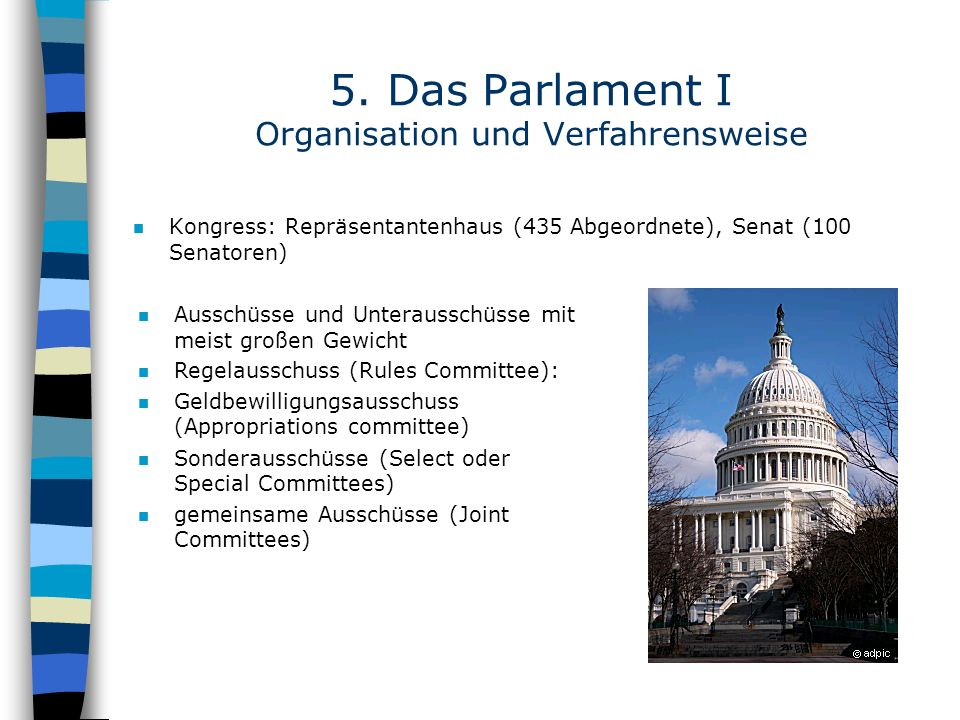 5. Das Parlament I Organisation und Verfahrensweise