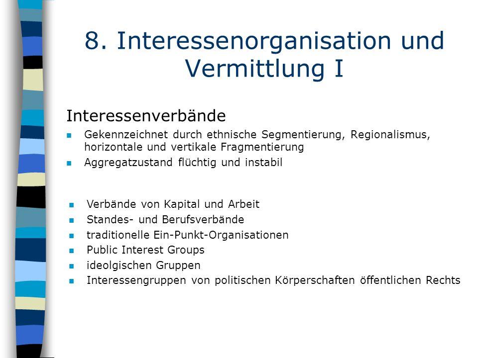 8. Interessenorganisation und Vermittlung I