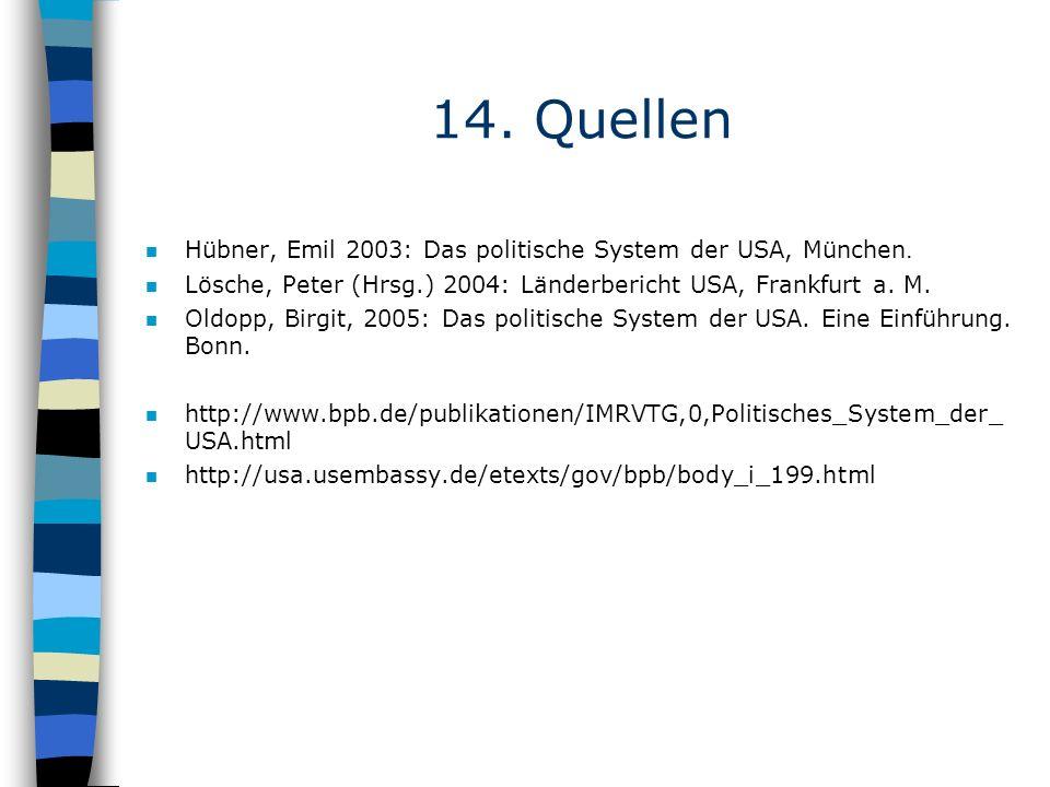 14. Quellen Hübner, Emil 2003: Das politische System der USA, München.