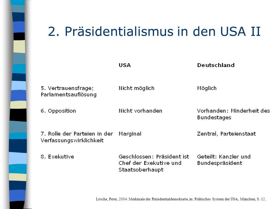 2. Präsidentialismus in den USA II