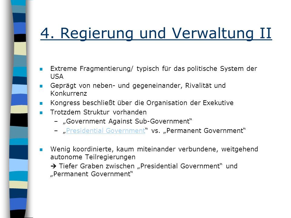 4. Regierung und Verwaltung II