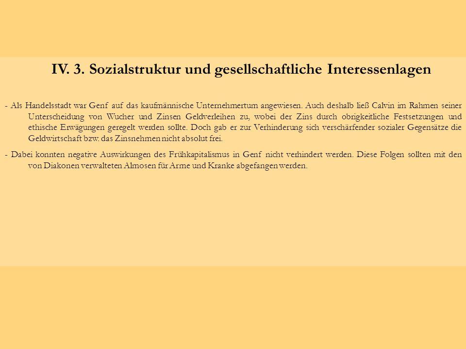 IV. 3. Sozialstruktur und gesellschaftliche Interessenlagen