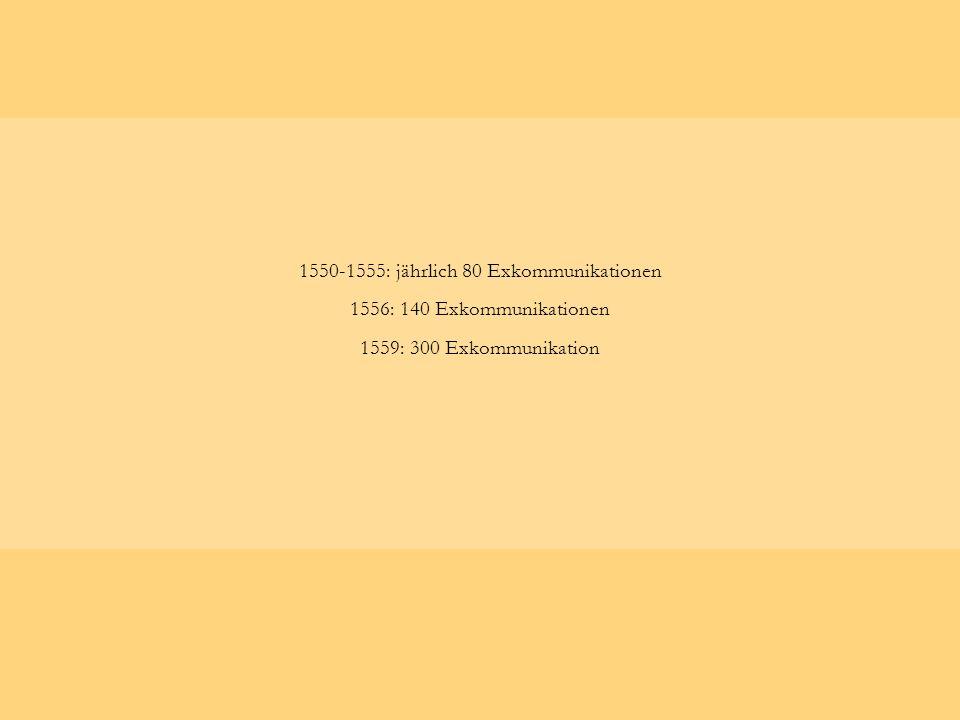 1550-1555: jährlich 80 Exkommunikationen