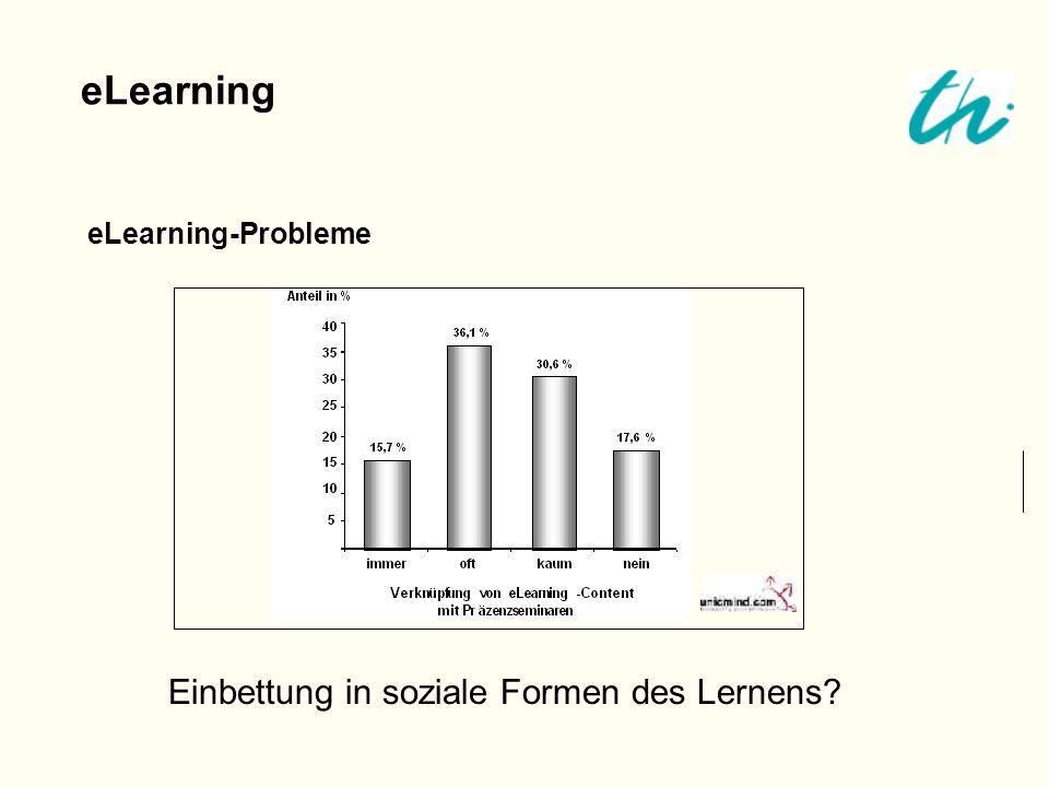 eLearning eLearning-Probleme Einbettung in soziale Formen des Lernens