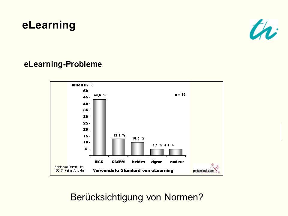 eLearning eLearning-Probleme Berücksichtigung von Normen