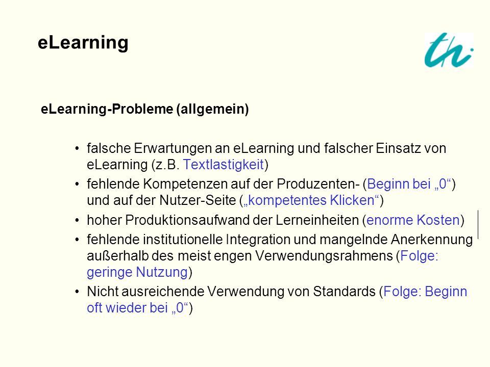 eLearning eLearning-Probleme (allgemein)