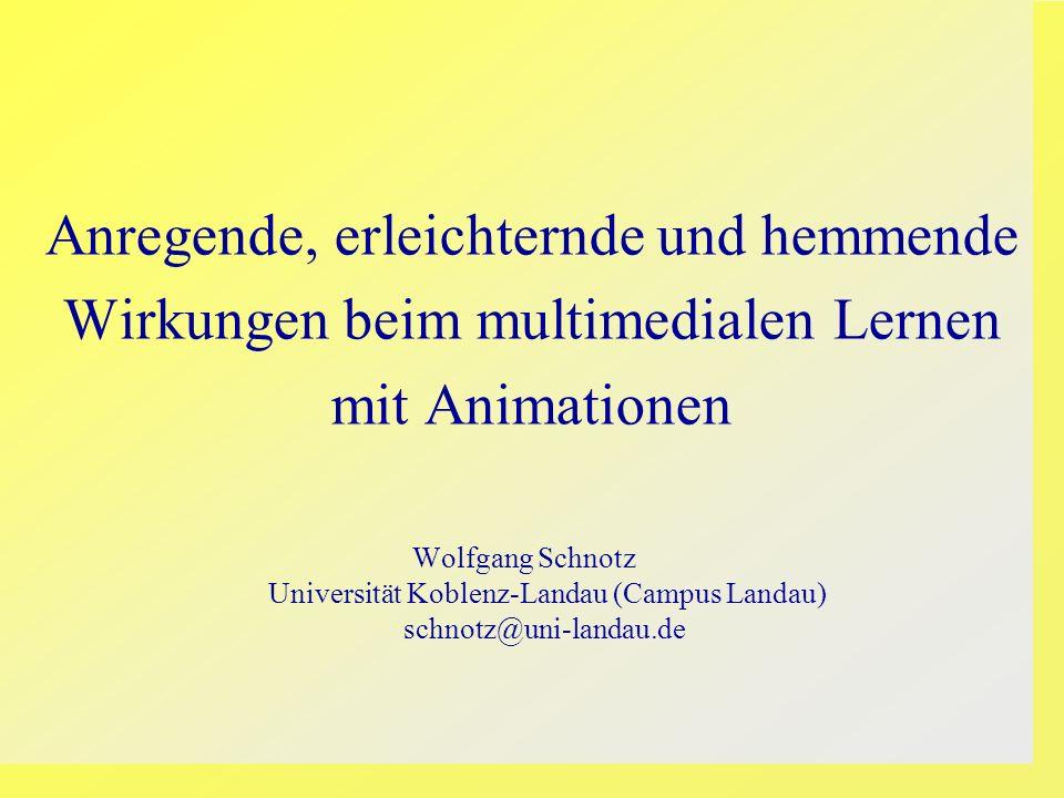 Anregende, erleichternde und hemmende Wirkungen beim multimedialen Lernen mit Animationen