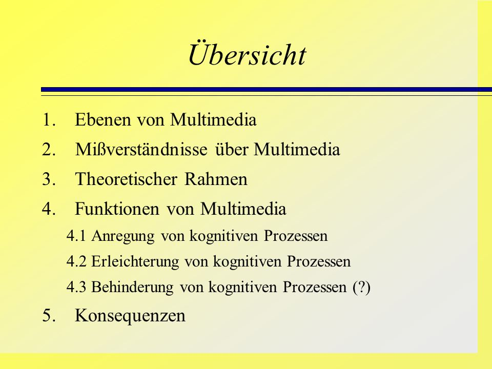 Übersicht 1. Ebenen von Multimedia 2. Mißverständnisse über Multimedia