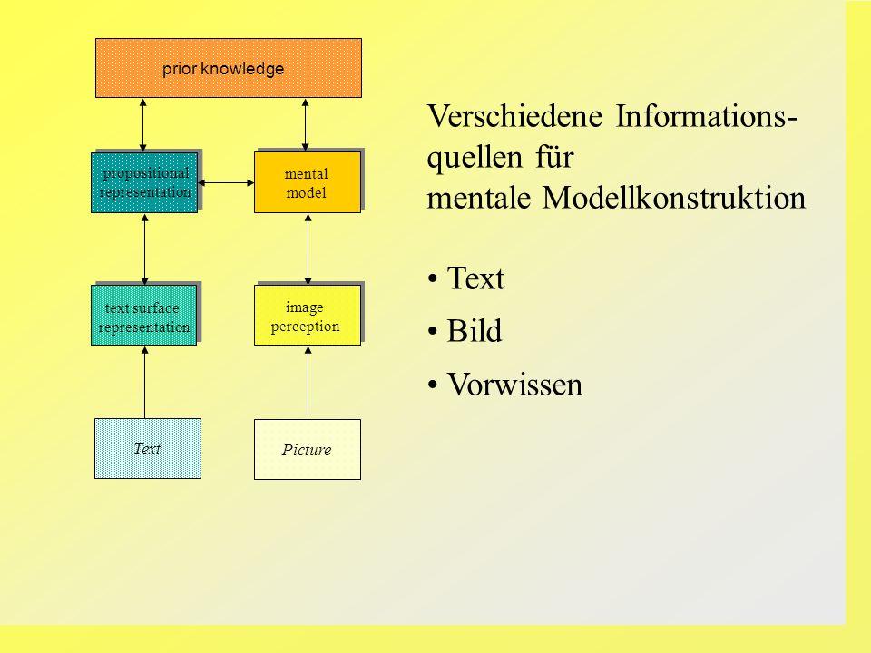Verschiedene Informations- quellen für mentale Modellkonstruktion