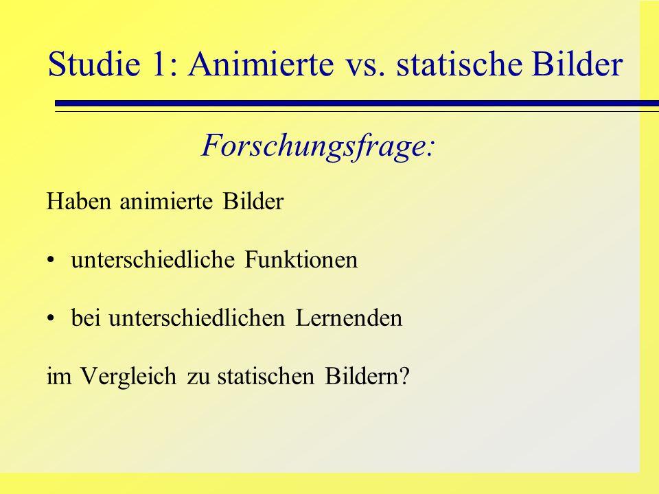 Studie 1: Animierte vs. statische Bilder