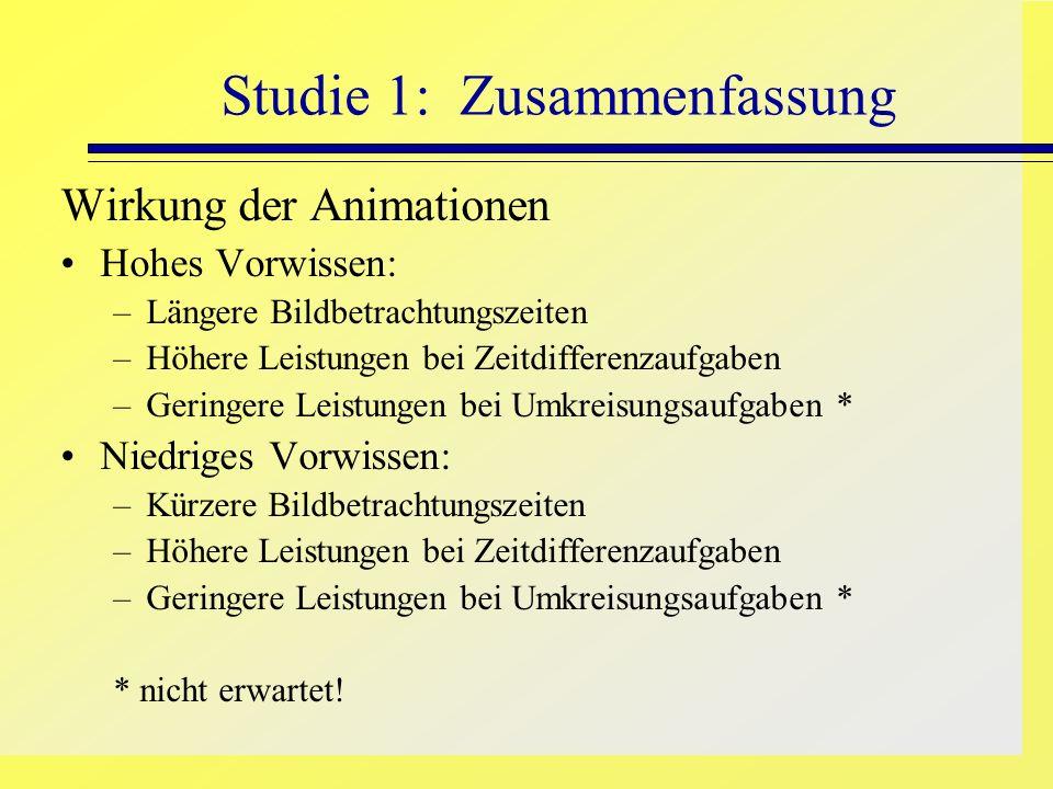 Studie 1: Zusammenfassung