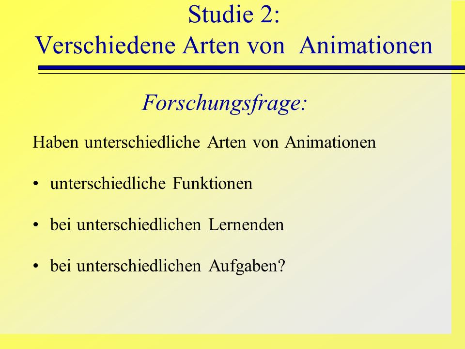 Studie 2: Verschiedene Arten von Animationen