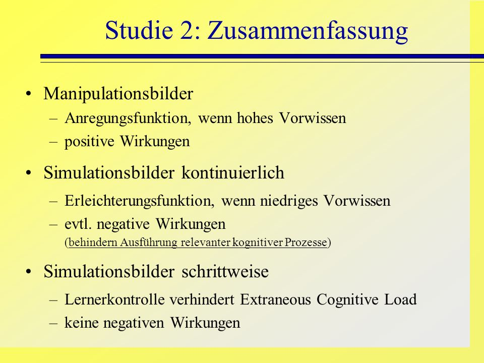 Studie 2: Zusammenfassung