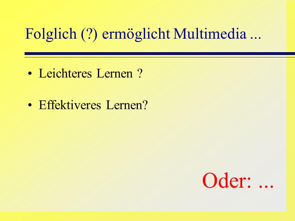 Folglich ( ) ermöglicht Multimedia ...