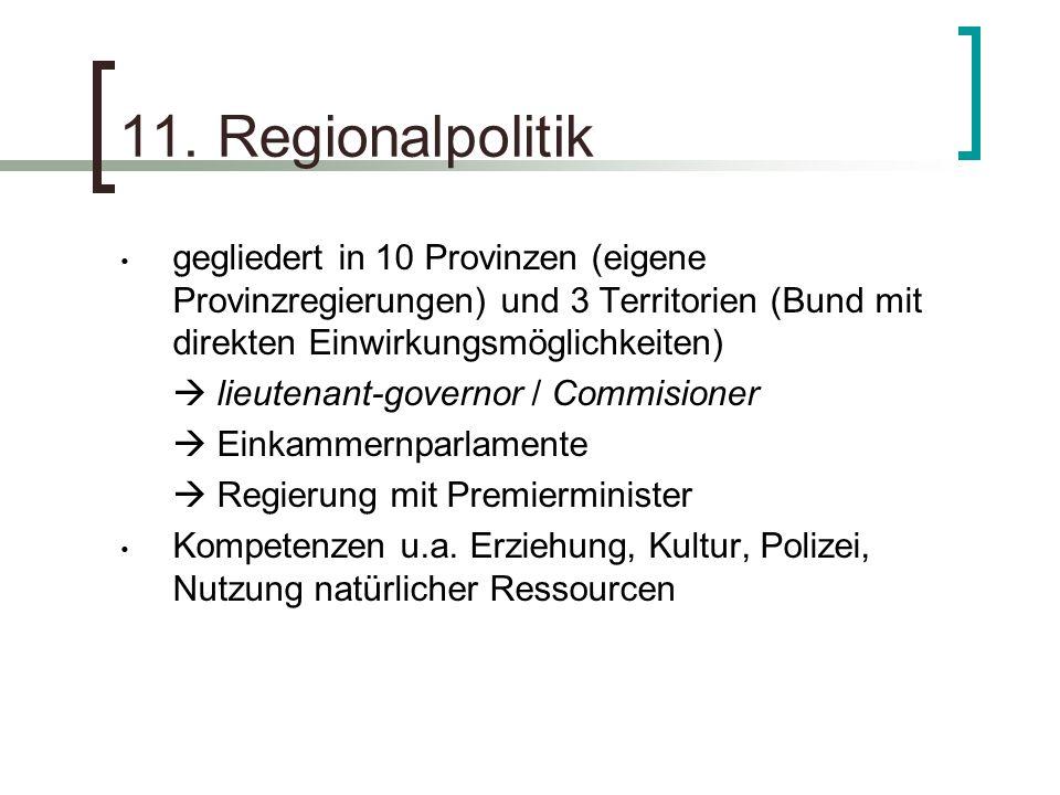 11. Regionalpolitik gegliedert in 10 Provinzen (eigene Provinzregierungen) und 3 Territorien (Bund mit direkten Einwirkungsmöglichkeiten)