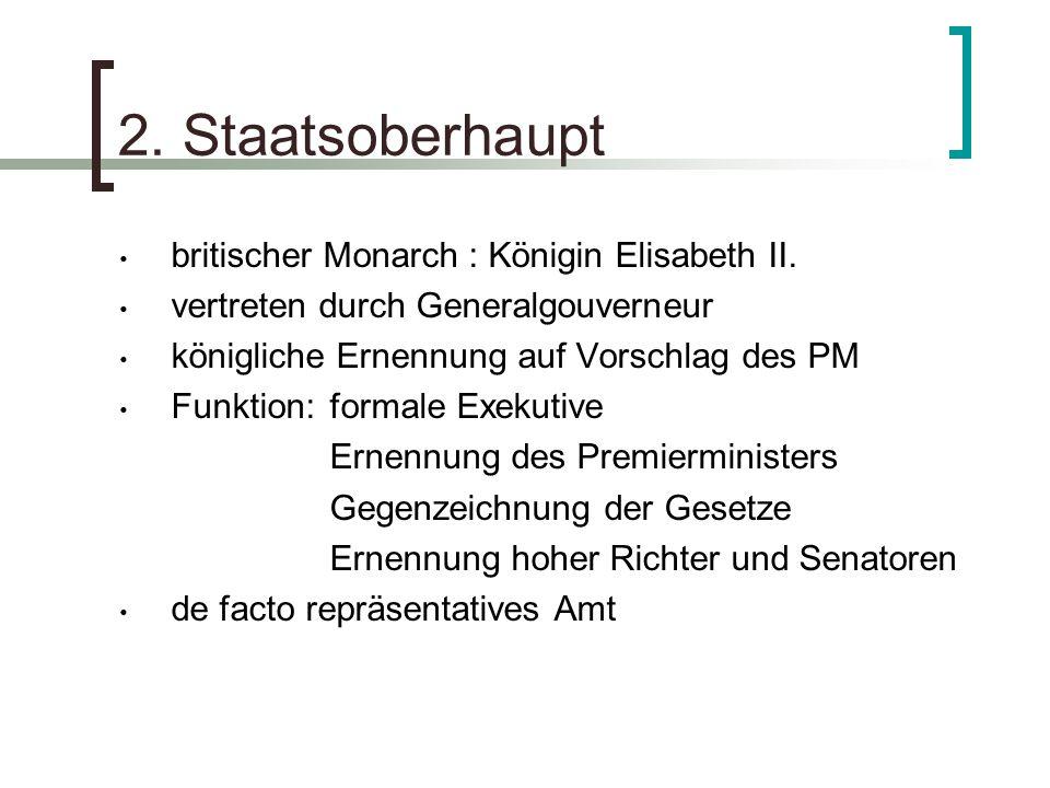 2. Staatsoberhaupt britischer Monarch : Königin Elisabeth II.