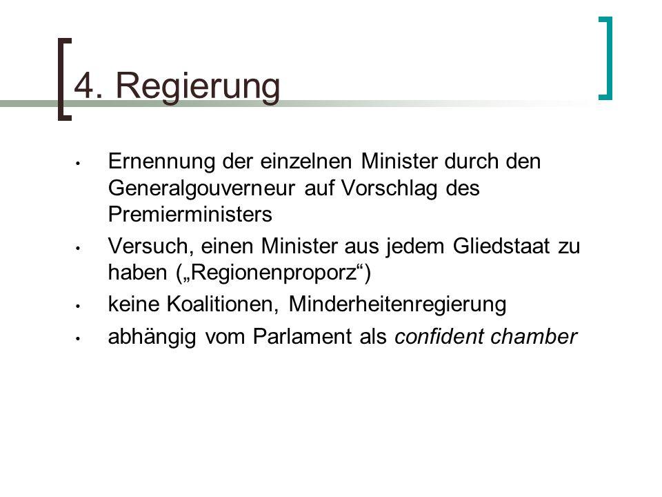 4. Regierung Ernennung der einzelnen Minister durch den Generalgouverneur auf Vorschlag des Premierministers.