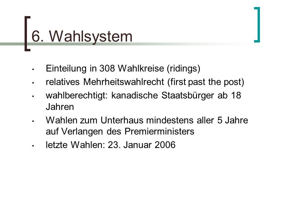 6. Wahlsystem Einteilung in 308 Wahlkreise (ridings)