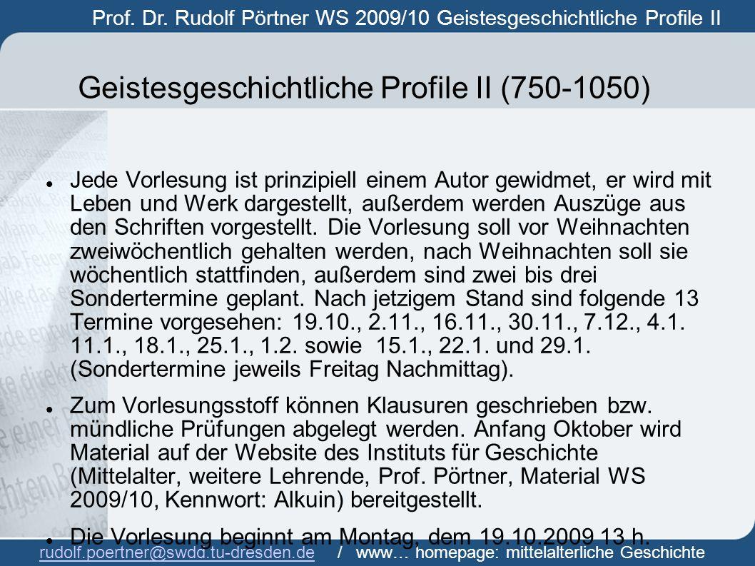 Geistesgeschichtliche Profile II (750-1050)