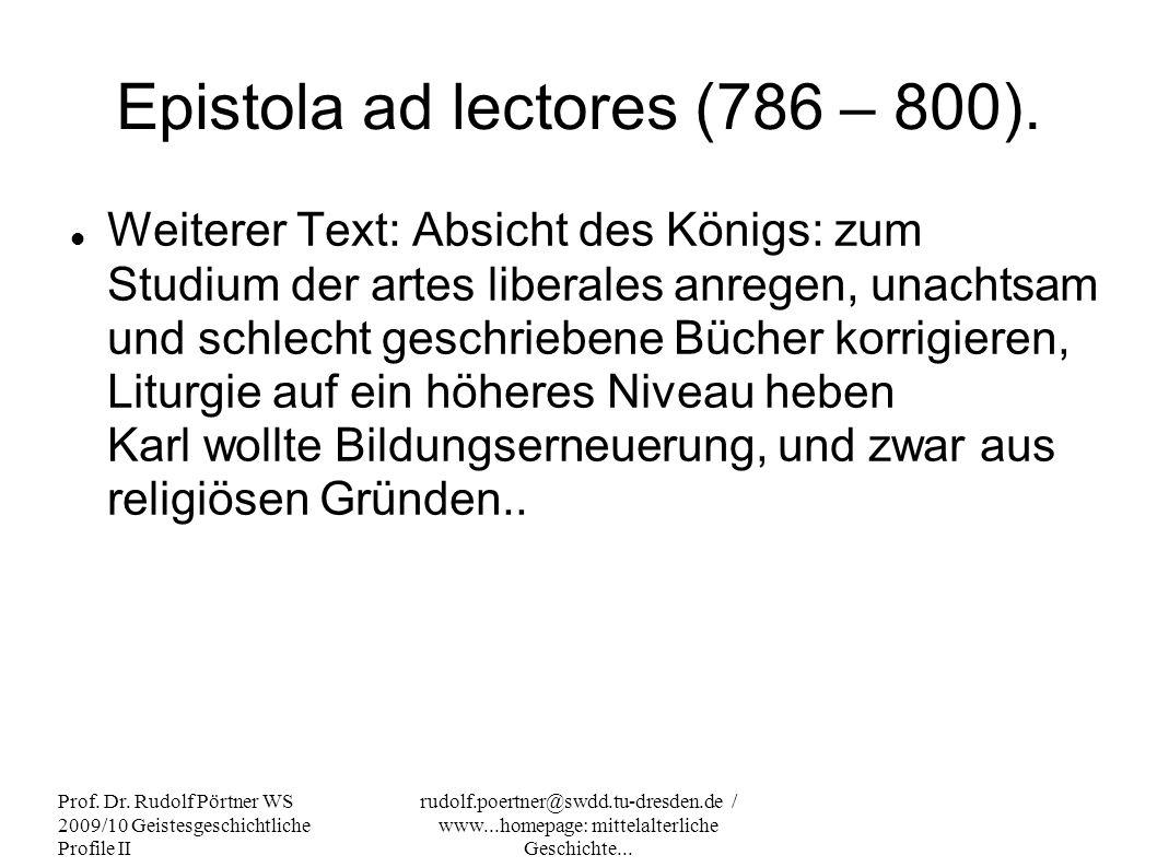 Epistola ad lectores (786 – 800).