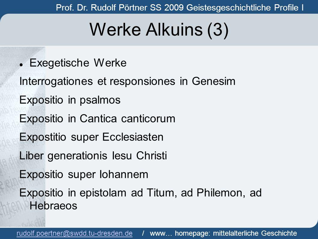 Werke Alkuins (3) Exegetische Werke