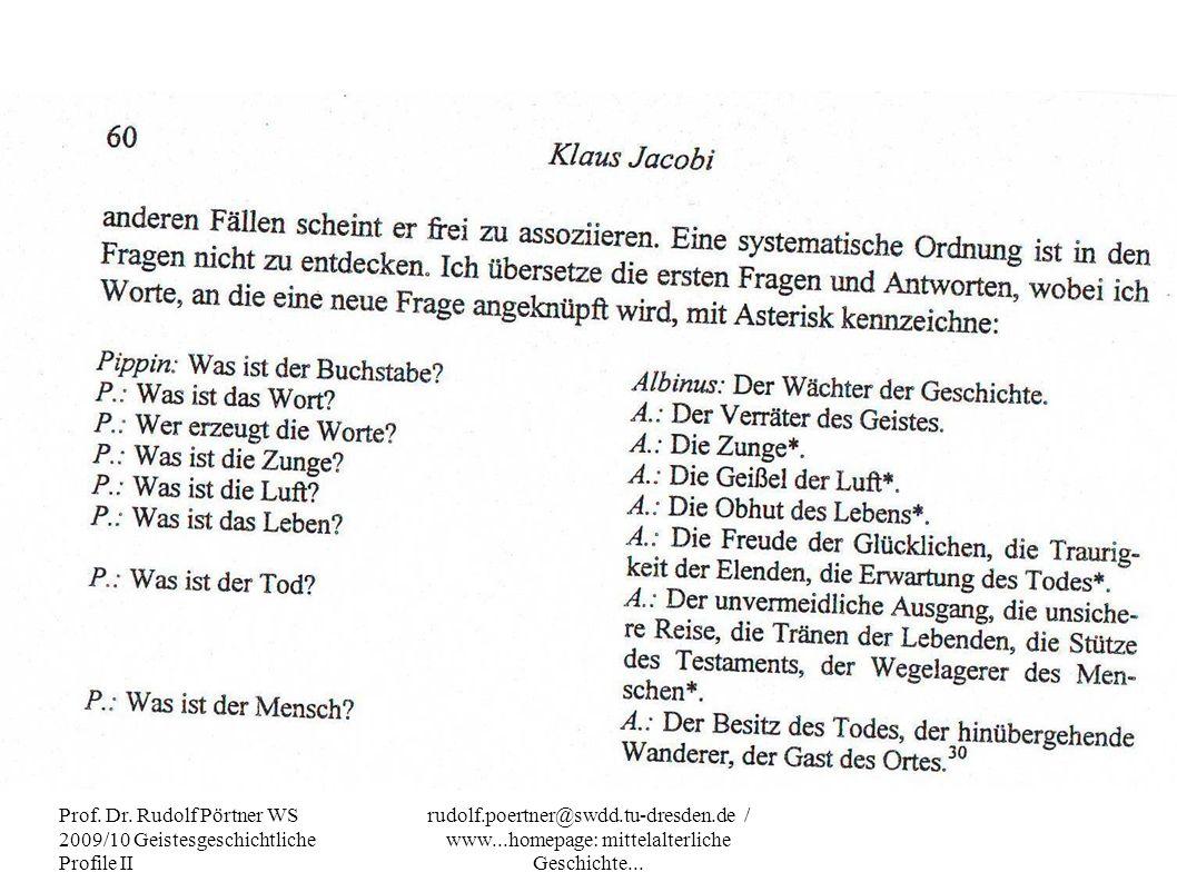 Prof. Dr. Rudolf Pörtner WS 2009/10 Geistesgeschichtliche Profile II