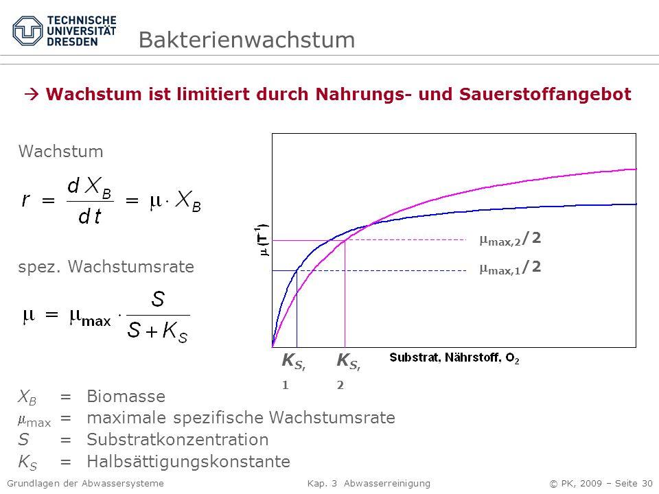 Bakterienwachstum Wachstum ist limitiert durch Nahrungs- und Sauerstoffangebot. max,2/2. max,1/2.