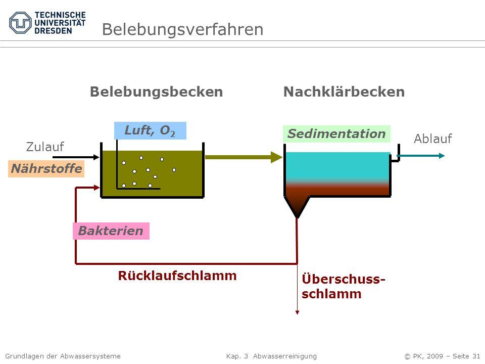 Belebungsverfahren Belebungsbecken Nachklärbecken Luft, O2