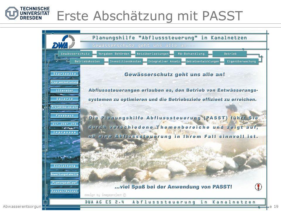 Erste Abschätzung mit PASST