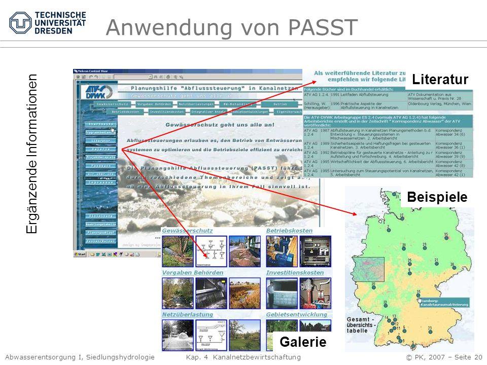 Anwendung von PASST Literatur Ergänzende Informationen Beispiele