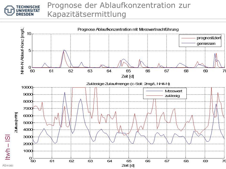 Prognose der Ablaufkonzentration zur Kapazitätsermittlung
