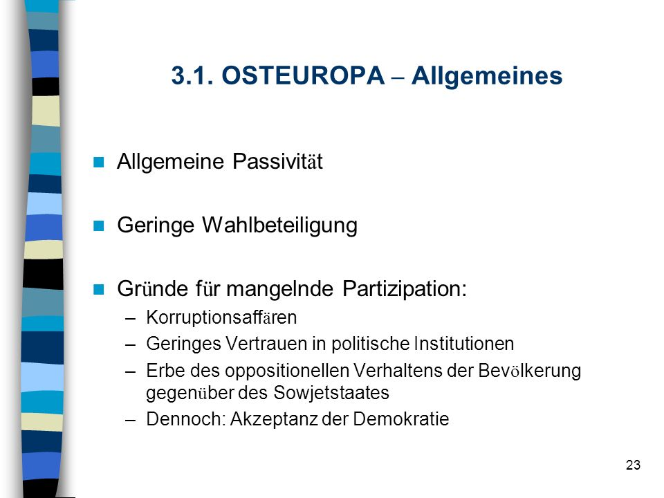 3.1. OSTEUROPA – Allgemeines