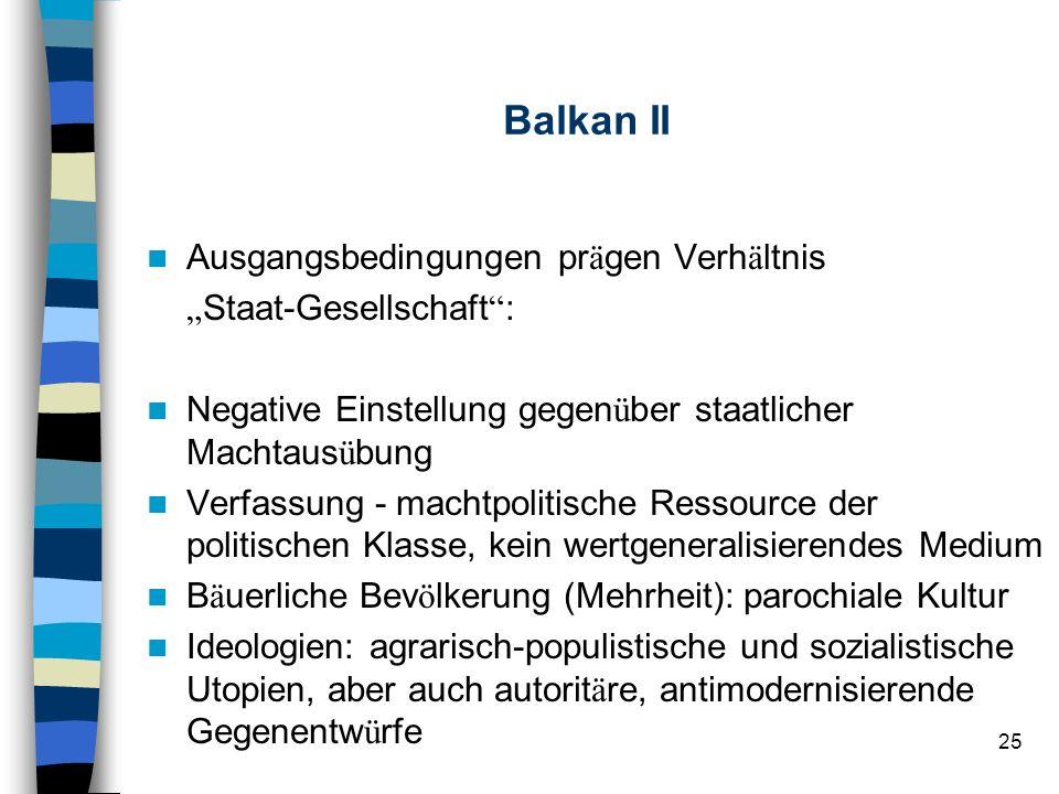"""Balkan II Ausgangsbedingungen prägen Verhältnis """"Staat-Gesellschaft :"""