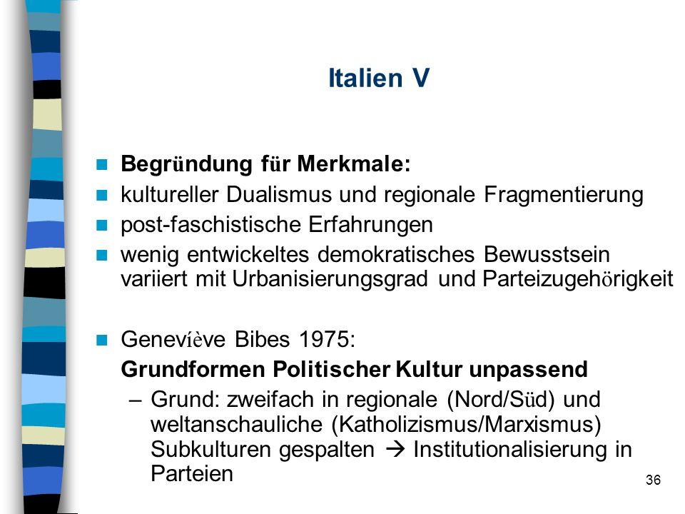 Italien V Begründung für Merkmale: