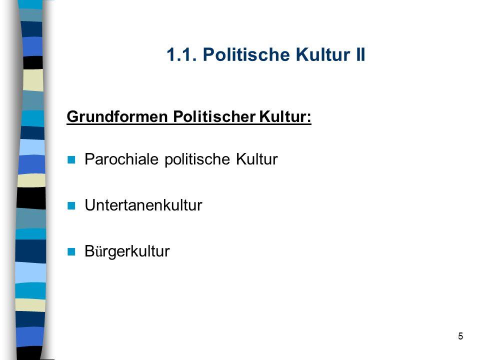 1.1. Politische Kultur II Grundformen Politischer Kultur: